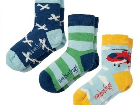 Boys Socks – Organic Cotton – Plane Design – 3 Pack