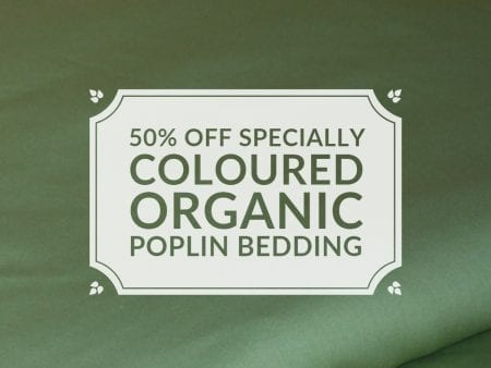 Green Tea Organic Cotton Poplin – Sheet Set Cradle Size – NOW HALF PRICE
