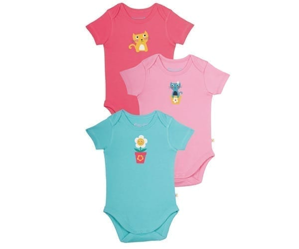 Baby Bodysuit – Organic Cotton Interlock – Cat Friends – (3 Pack) – NOW HALF PRICE