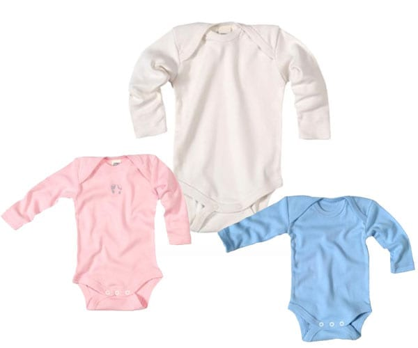 Baby Bodysuit Long Sleeve – 100% Organic Cotton – pink and blue