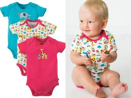 Baby Body Suit – Organic Cotton – Giraffe Print – 18 to 24 months – (3 Pack) – NOW HALF PRICE