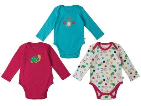 Baby Body Suits – Organic Cotton Interlock – Hare Tortoise Motif – (3 Pack) – NOW HALF PRICE