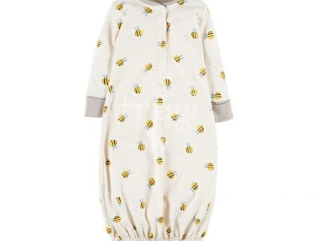 Baby Gown – Organic Cotton Interlock – Buzzy Bee Print – 3 to 12 months