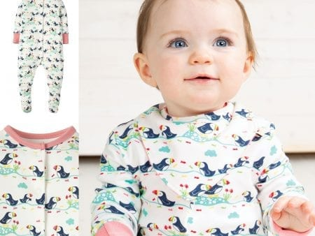Babygrow Bodysuit – Organic Cotton – Puffin Print – newborn to 2 years