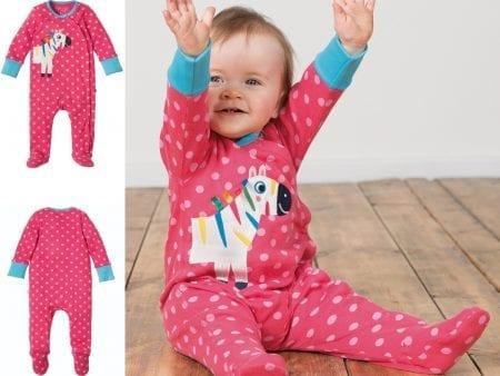Babygrow – Organic Cotton Interlock – Pink Zebra – 3 to 18 months
