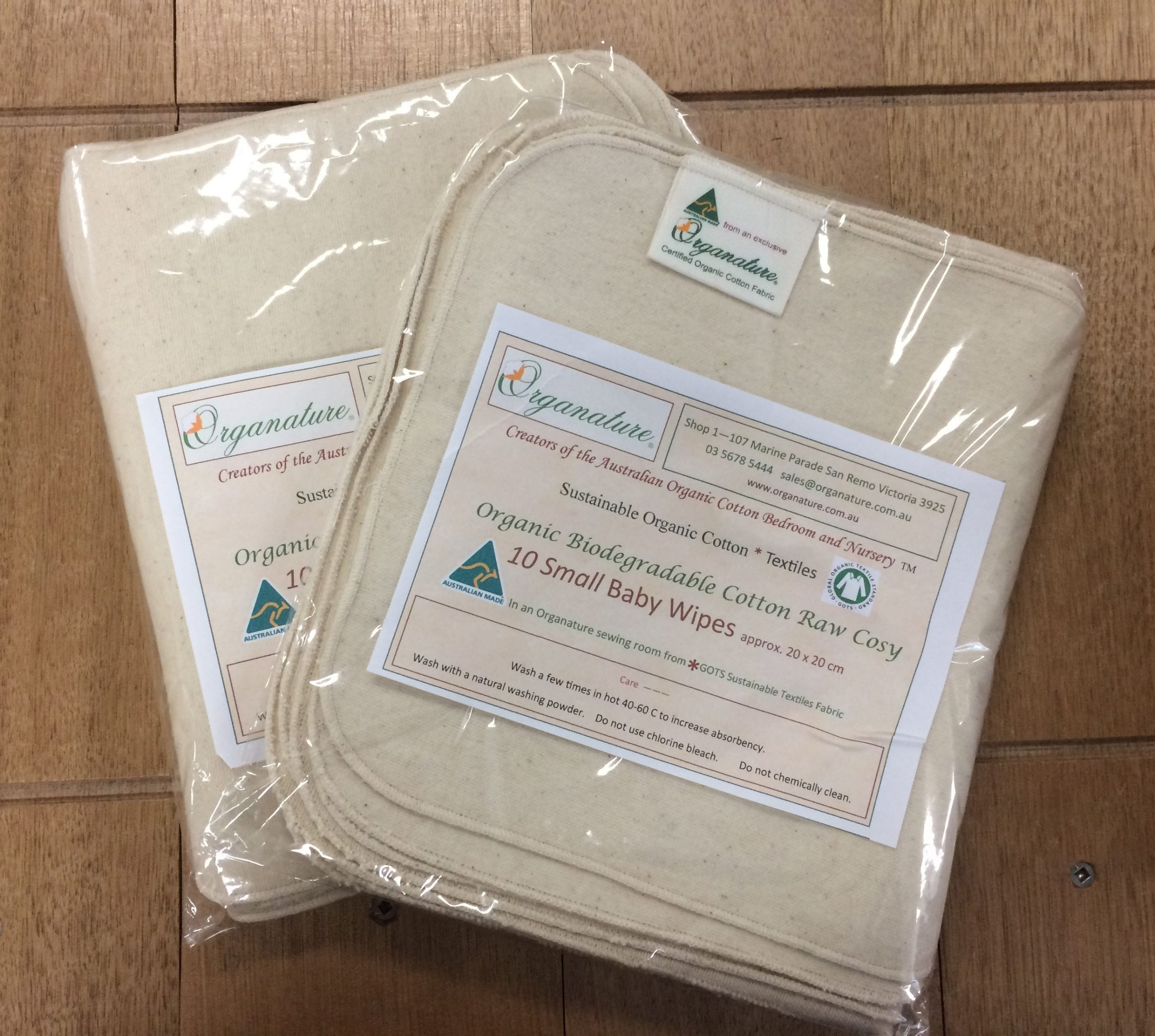 Baby Wipes – 100% Organic Cotton – small or large packs