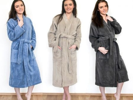 Organic Cotton Bathrobe – beige, olive, blue or grey
