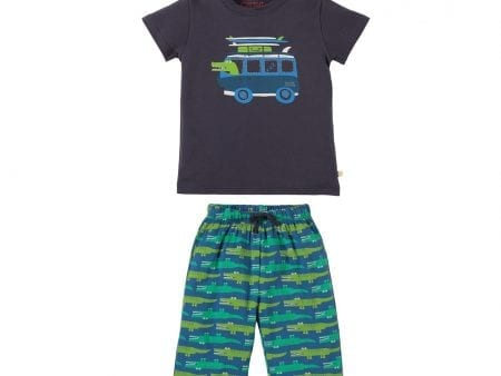 Boys Shortie Pyjamas – Organic Cotton – Crocodile Design – 4 to 5 years