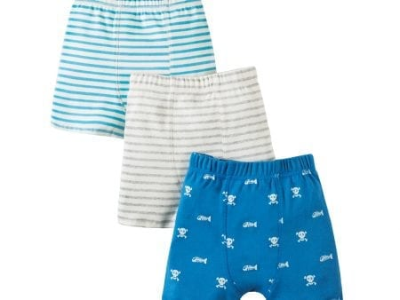 Boys Trunks – Organic Cotton – Skulls and Bones Print – 3 Pack