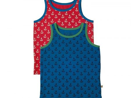 Boys Vests – Organic Cotton – Anchor print – 6 to 7 years – (2 Pack) – NOW HALF PRICE
