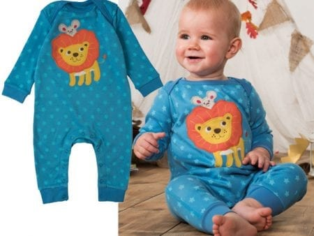 Charlie Romper – Organic Cotton – Blue Stars and Lion – 12 to 18 months