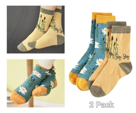 childrens-socks-organic-cotton-duck-lily-pad-design-2-to-12-years-2-pack