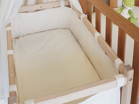 Cream Organic Cotton Poplin – Bassinet Size Flat Sheet – NOW HALF PRICE