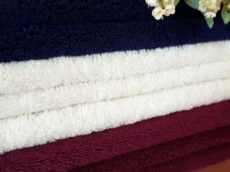 Luxury Organic Cotton Bath Towels – navy, dark red or natural