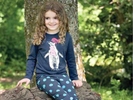 Girls Long Sleeved Top – Organic Cotton – Penguin Design – 3 to 10 years – NOW HALF PRICE
