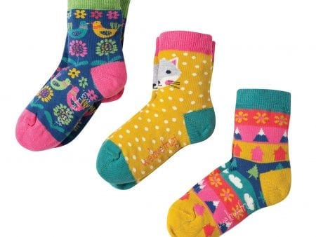Girls Socks – Organic Cotton – Arctic Fox Design – 3 Pack