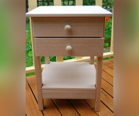 Hardwood Side Table – With Shelf & 2 Drawers
