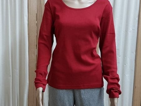 Ladies Bodyfit Long Sleeve Top – Organic Cotton – Red – Extra Large – NOW HALF PRICE