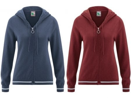 Lightweight Hoodie with Zip – Organic Cotton / Hemp – red or blue