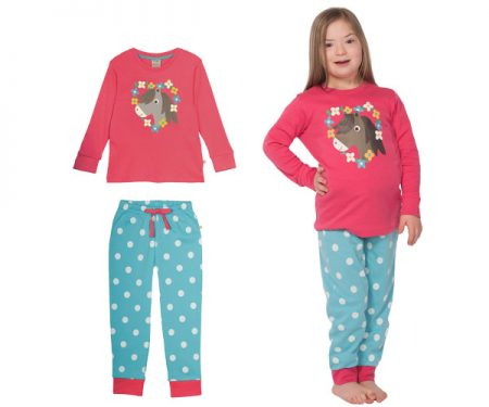 Lizzie Long John PJs – Raspberry/Pony
