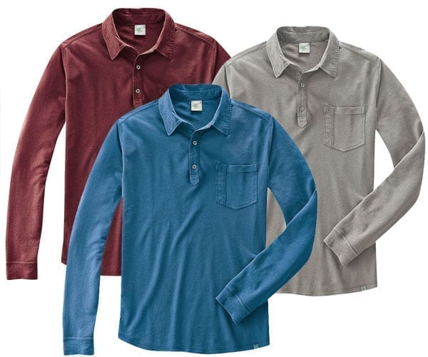 Long Sleeve Polo Shirt – Certified Organic Cotton / Hemp – various colours