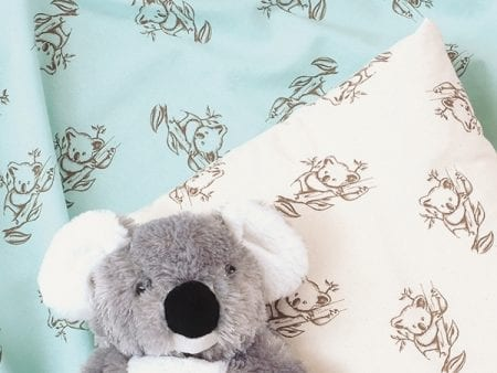 GOTS Certified Organic Cotton Koala Print Fabric – mint or natural