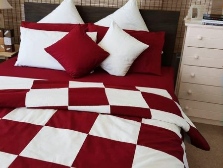 Patch Quilt Cover Organic Poplin – Cot / Single – burgundy and white – NOW HALF PRICE