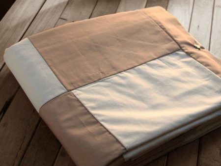 Patch Quilt Cover – Organic Poplin – Single/Queen – latte and natural – NOW HALF PRICE