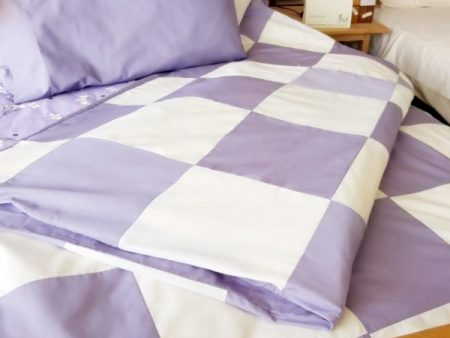 Patch Quilt Cover – Organic Poplin – Cot/Single – lilac and white – NOW HALF PRICE