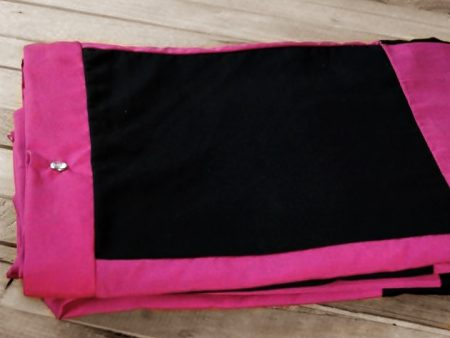 Patch Quilt Cover – Organic Poplin – Single Bed Size – black and magenta – NOW HALF PRICE