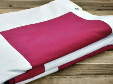 Patch Quilt Cover – Organic Poplin – Single Bed Size – white and magenta – NOW HALF PRICE