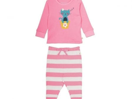 Strawberry Stripe Cat Pyjamas – Organic Cotton Interlock –  18 months to 4 years