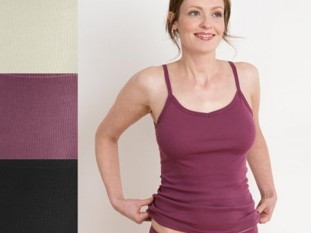 Womens Spaghetti Strap Singlet Top – Organic Cotton – natural, black or dark rose
