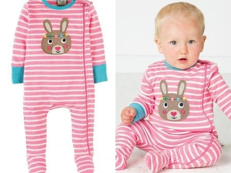 Zipped Babygrow – Organic Cotton – Pink Bunny – 6 to 12 months
