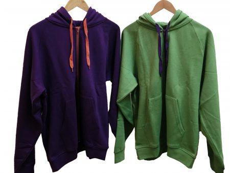 Zipper Hoodie – Certified Organic Cotton – plum or green – NOW HALF PRICE