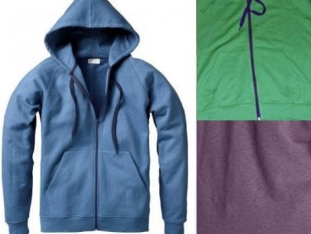 SALE – Zipper Hoodie – Certified Organic Cotton – plum or green –